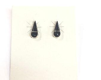 Native American Navajo handmade sterling silver and onyx stud earrings