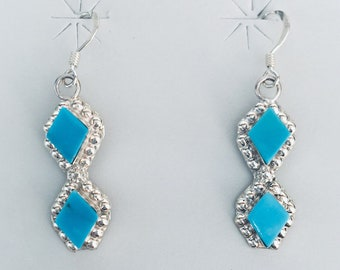 Native American handmade Zuni sterling silver and turquoise inlay earrings