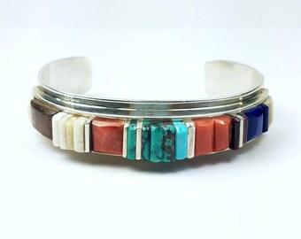 Native American Navajo handmade Sterling Silver multi-stone cobble stone cuff bracelet