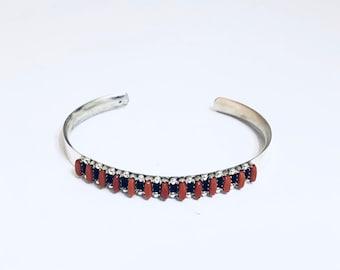 Native American Zuni Handmade Sterling Silver and Coral Cuff Bracelet