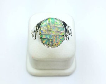 Native American Navajo handmade Sterling Silver Opal inlay ring