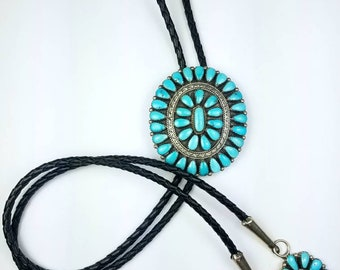 Vintage Native American Zuni handmade Sterling Silver Turquoise stone bolo tie