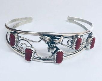 Native American Navajo handmade Sterling Silver Coral and Kingman Turquoise cuff bracelet
