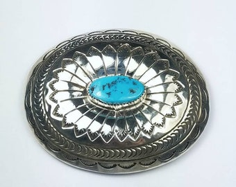 Native American Navajo handmade Sterling Silver Turquoise stone belt buckle