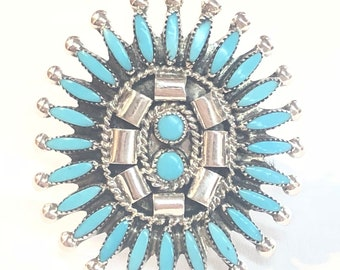 Native American Zuni handmade sterling silver turquoise needle point ring
