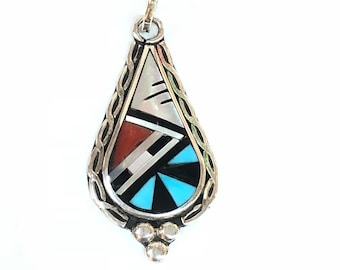Native American Zuni handmade multi colored inlay pendent