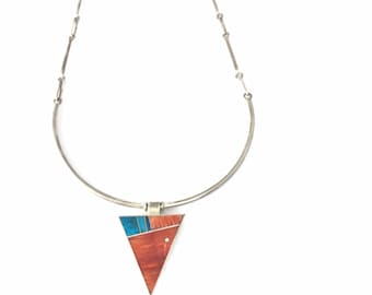 Native American Navajo handmade Sterling Silver Turquoise and Spiny  oyster shell Inlay necklace