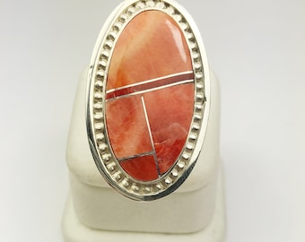 Native American Navajo Handmade Sterling Silver Spiny Oyster Inlay Ring