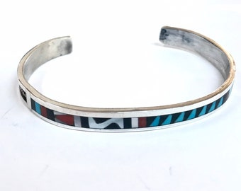 Native American Zuni handmade multi stone inlay sterling silver cuff bracelet set with turquoise coral onyx shell
