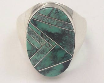 Vintage Native American Navajo Handmade Sterling Silver Turquoise Inlay Ring