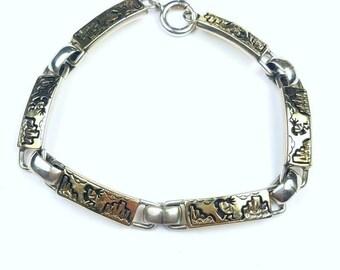 Native American Navajo handmade Sterling Silver 14k Gold overlay Kokopelli link bracelet