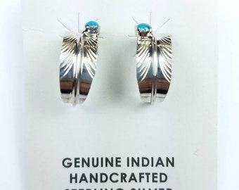 Native American Navajo handmade Sterling Silver Turquoise stone feather half hoop stud earrings