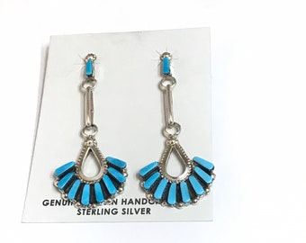Native American Zuni Handmade Sterling Silver Sleeping Beauty Turquoise Dangle Earrings