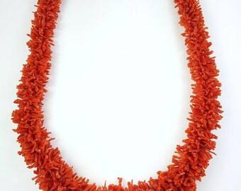 Vintage Native American Navajo handmade Sterling Silver hand strung Mediterranean branch Coral Necklace