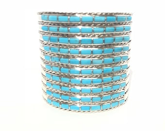 Native American Zuni handmade sterling silver sleeping beauty turquoise inlay cuff bracelet
