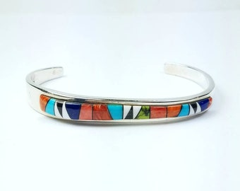 Native American Navajo handmade Sterling Silver inlay multi-stone bracelet