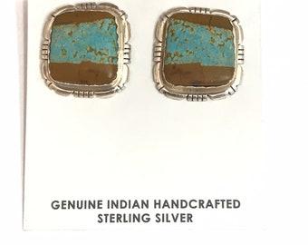 Native American Navajo Handmade Sterling Silver Boulder Turquoise Stud Earrings