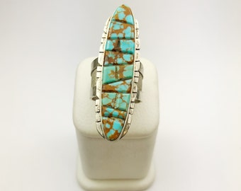 Native American Navajo Handmade Sterling Silver Pilot Mountain Turquoise