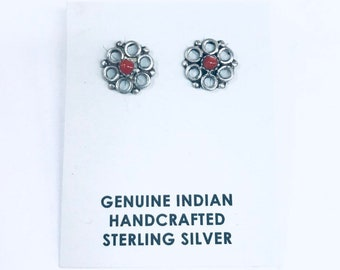 Native American handmade Navajo sterling silver stud earrings set with Coral