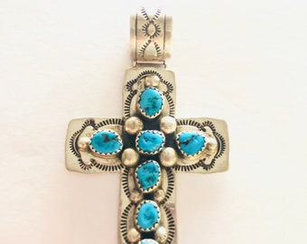 Native American Navajo handmade sterling silver turquoise cross