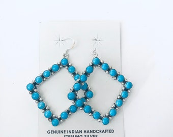 Native Americans Zuni handmade sterling silver and sleeping beauty turquoise dangleEarrings