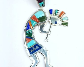 Native American Navajo handmade Sterling Silver multi-stone cobble stone inlay pendant