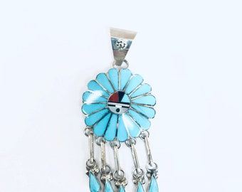 Native American Zuni handmade sterling silver turquoise Sun God pendant
