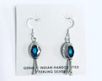 Native American Navajo handmade (shadow box design) sterling silver and Sleeping Beauty Turquoise dangle earrings