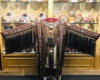 Native American Handcrafted Beaded Elk Skin Ceremonial War Shirt
