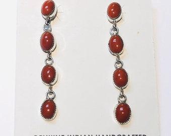 Native American Navajo handmade sterling silver and Mediterranean coral drop earrings