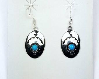 Native American Navajo handmade Sterling Silver Turquoise dangle drop earrings