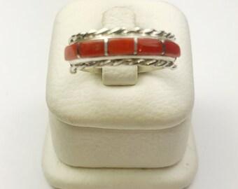Native American Navajo Handmade Sterling Silver Mediterranean Coral Inlay Ring
