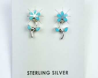 Native American Zuni handmade Sterling Silver inlay Turquoise flower stone stud earrings