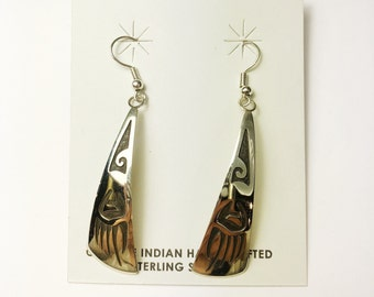 Native American Navajo Handmade Sterling Silver Bear paw Earrings