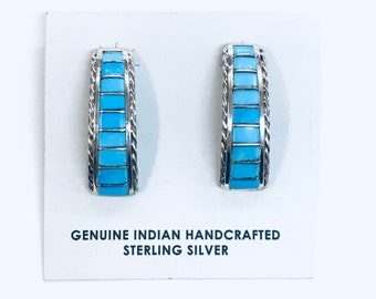 Native American Zuni handmade sterling silver and turquoise half hoop inlay earrings