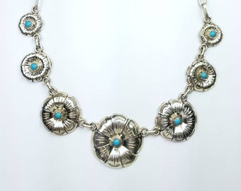 Native American Navajo handmade Sterling Silver genuine Turquoise necklace