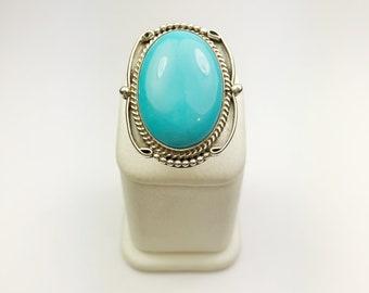 Native American Navajo Handmade Sterling Silver Sleeping Beauty Ring