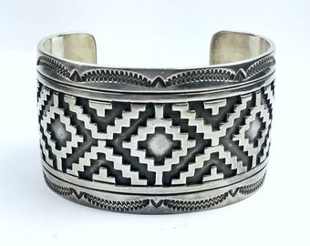 Vintage Native American Navajo handmade Sterling Silver satin finished cuff bracelet