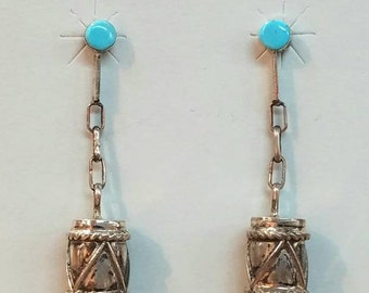 Native American Navajo Handmade Sterling Silver Turquoise Earrings