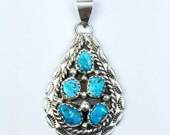 Native American Navajo handmade Sterling Silver Kingman Turquoise pendant
