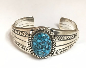 Native American Navajo Handmade Sterling Silver Sleeping Beauty Turquoise Bracelet