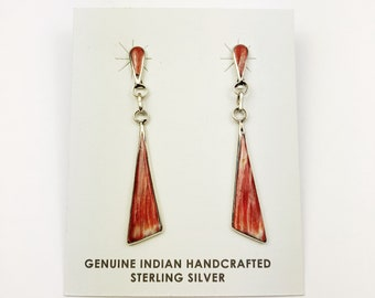 Native American Navajo Handmade Sterling Silver Spiny Oyster Earrings