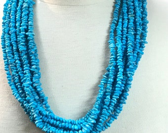 Stunning Native American Navajo Handcrafted Sleeping Beauty Nugget 10 Strand Turquoise Necklace
