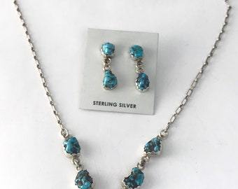 Native American NavajoHandmade Sterling Silver and Kingman Turquoise choker/Necklace and earring set
