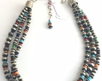 Native American Handmade Navajo 3 Strand Sterling Silver and Multi-Stone Bead Choker-Necklace