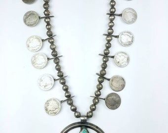 Vintage Native American Navajo handmade Sterling Silver Coin Squash Blossom necklace