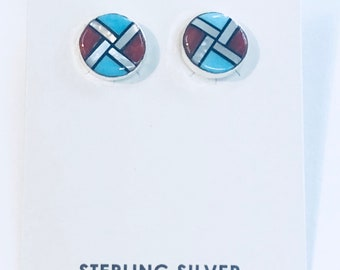 Native American Zuni handmade sterling silver turquoise multicolored post earrings