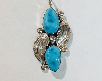 Native American Navajo handmade Sterling Silver with Sleeping Beauty Turquoise pendant