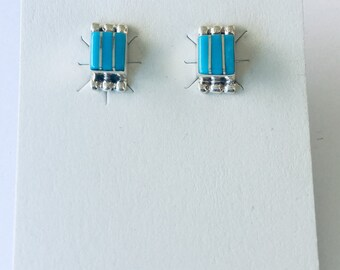 Native American Zuni inlay handmade sterling silver set with turquoise stud earrings