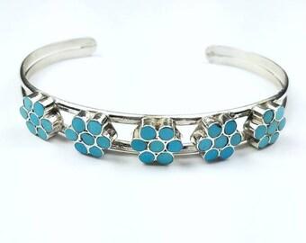Native American Zuni handmade Sterling Silver inlay Turquoise cuff flower bracelet